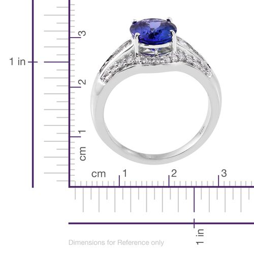 ILIANA 18K White Gold AAA Tanzanite (Ovl 1.90 Ct), Diamond (SI/G-H) Ring 2.450 Ct.