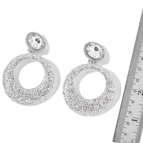 Simulated White Diamond and White Austrian Crystal Earrings (with French Clip) in Silver Tone