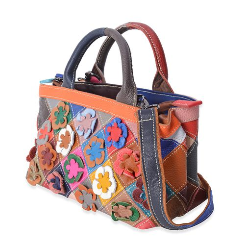 Morocco Collection 100% Genuine Leather Multi Colour Blocking with 3D Flower Pattern Bag with Adjustable Shoulder Strap (Size 24x15x11.5 Cm)