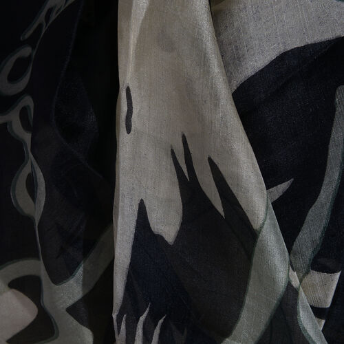 100% Mulberry Silk Black, Light Grey and Multi Colour Handscreen Printed Scarf (Size 170x100 Cm)