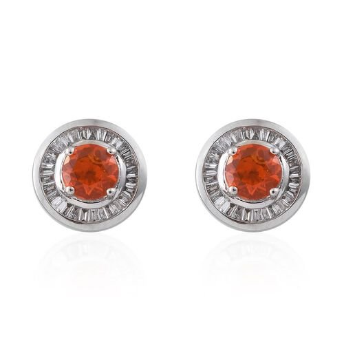 RHAPSODY 1.25 Ct AAAA Jalisco Fire Opal and Diamond (VS/E-F) Stud Earrings in 950 Platinum (with Screw Back)