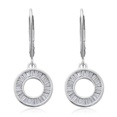 9K White Gold SGL Certified Diamond (13/G-H) (Bgt) Lever Back Earrings 0.500  Ct.