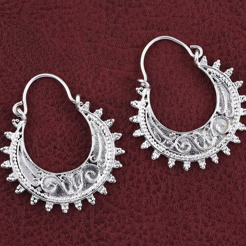 Rhodium Plated Sterling Silver Filigree Hoop Earrings (with Clasp), Silver wt. 7.79 Gms.