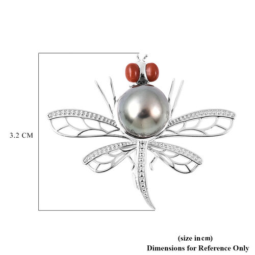 GP Fresh Water Peacock Pearl, Red Jade and Blue Sapphire Dragonfly Pendant in Rhodium Overlay Sterling Silver