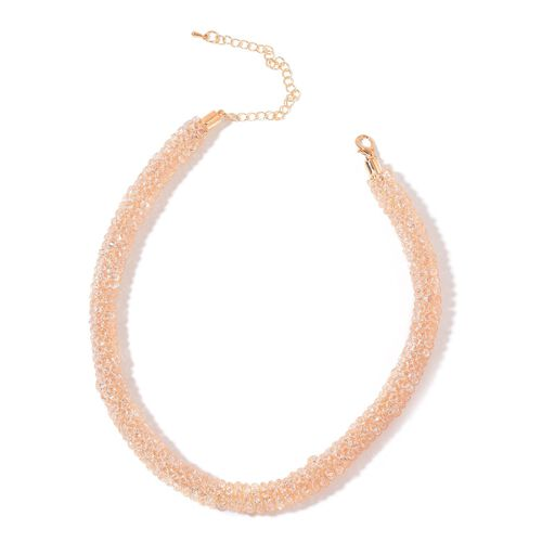AAA White Austrian Crystal Necklace (Size 20 with Extender) in Yellow Gold Tone
