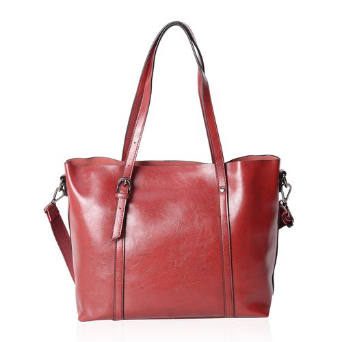 Close Out Deal 100% Genuine Leather Berry Colour Tote Bag with Removable Shoulder Strap (Size 37x30x26x13 Cm)