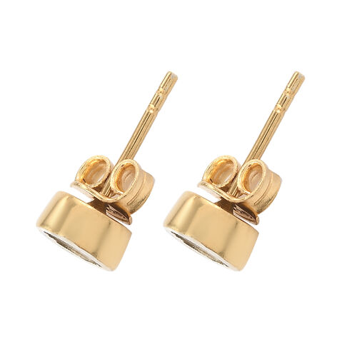 Artisan Crafted Polki Diamond Stud Earrings (with Push Back) in Yellow Gold Overlay Sterling Silver 0.25 Ct.