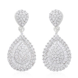 9K White Gold SGL Certified (I3/G-H) Diamond (Bgt and Rnd) Earrings (with Push Back) 1.000 Ct, Number Of Diamond 172