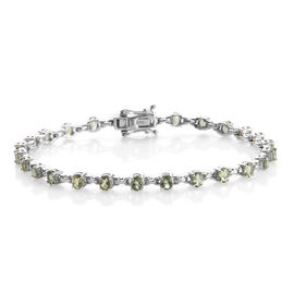 4.25 Ct Natural Green Apatite Station Bracelet in Platinum Plated Silver 7.60 Grams 7.5 Inch