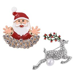 Set of 2 - Multi Colour Austrian Crystal and Simulated Pearl Santa Claus and Deer Brooch with Enameled