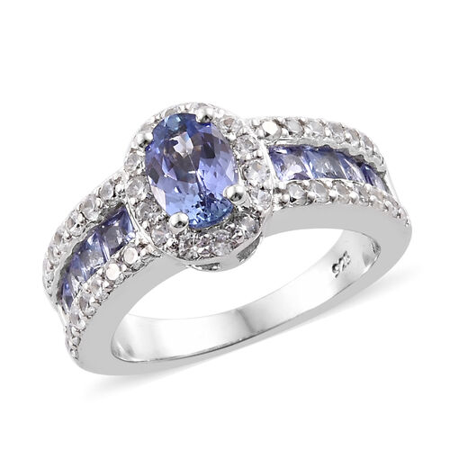Tanzanite (Ovl), Natural Cambodian Zircon Halo Ring in Platinum Overlay Sterling Silver 2.250 Ct., S