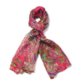 New Collection 100% Mulberry Silk Bohemian Pattern Scarf (Size 180x110Cm) - Red