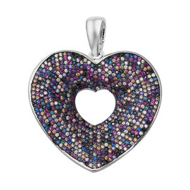 ELANZA Multi Colour Simulated Diamond (Rnd) Heart Pendant in Rhodium Overlay Sterling Silver, Silver
