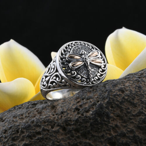 Bali Legacy Collection Natural Cambodian White Zircon (Rnd) Filigree Dragonfly Ring in 18K Yellow Gold and Sterling Silver 0.140 Ct, Metal wt 7.30 Gms.