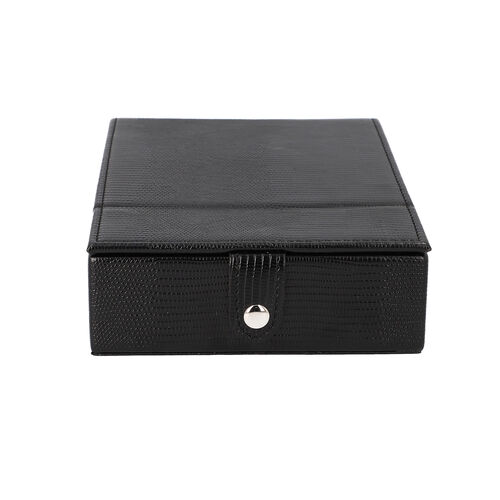 Grace Collection - Lizard Skin Pattern Rectangular Shaped  Anti-Tarnish Jewellery Box with Extendable Mirror, Ring Rows & 5 Sections (Size 21x15x5.5cm) - Black