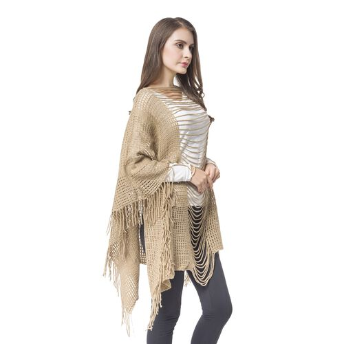 Designer Inspired - Coffee Colour Poncho (Free Size)