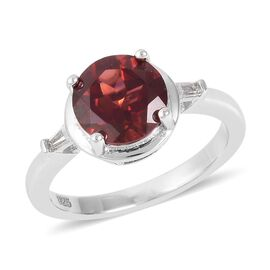 Mozambique Garnet (Rnd), White Topaz Ring in Rhodium Overlay Sterling Silver 2.400 Ct.