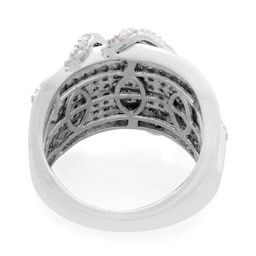 Designer Inspired Blue Diamond (Rnd), White Diamond Ring in Platinum Overlay Sterling Silver 1.500 Ct.