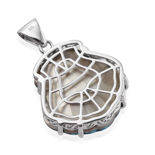 J Francis - Crystal From Swarovski - Indicolite Crystal Shell Pendant in Platinum Overlay Sterling Silver