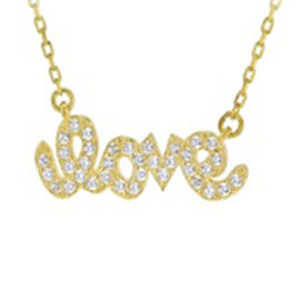 Cubic Zirconia LOVE Necklace in Gold Plated Silver 16 with 2 inch Extender