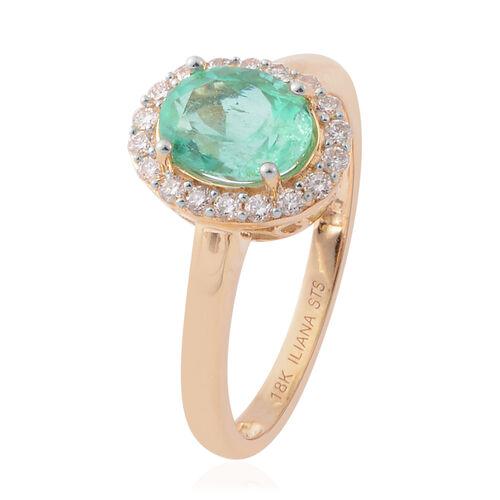 ILIANA 18K Yellow Gold AAA Boyaca Colombian Emerald (Ovl) Diamond (SI/G-H) Ring 1.220 Ct.
