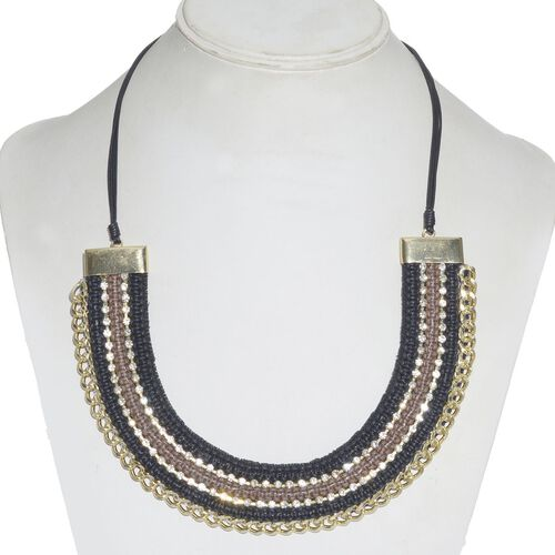 Jewels of India Black and Brown Thread and Zircon Gold Plated Brass Choker Necklace (Size 9 with 3 inch Extender)