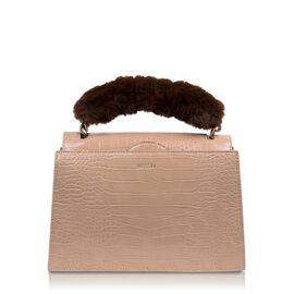Inyati Olivia Handbag with Removable Faux Fur Handle (Size 20x24x11 Cm) - Warm Sand