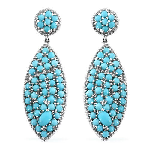 Arizona Sleeping Beauty Turquoise (Ovl and Rnd) Dangle Earrings (with Push Back) in Platinum Overlay