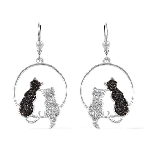 Black Diamond (Rnd) Twin Cat Lever Back Earrings in Platinum Overlay Sterling Silver