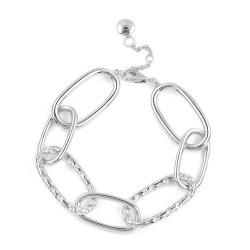 RACHEL GALLEY Link Bracelet (Size 8) in Rhodium Overlay Sterling Silver, Silver wt 23.90 Gms.