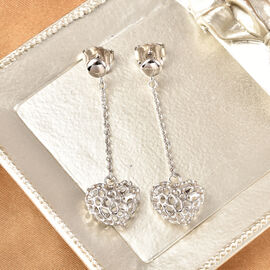 RACHEL GALLEY Rhodium Overlay Sterling Silver Heart Earrings (with Push Back)