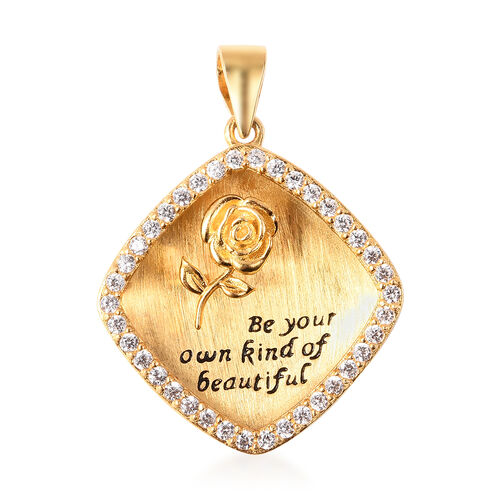 ELANZA Simulated Diamond Square and Embossed Rose Pendant in Black and Yellow Gold Overlay Sterling