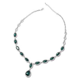 Simulated Emerald and White Austrian Crystal Necklace in Silver Tone 20.5 Inch
