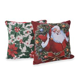 Set of 2 - Christmas Theme Cushion Cover (Size 43x43 Cm) - Green and Multicolour