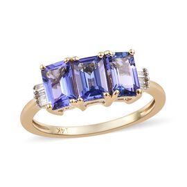 New York Close Out 1.75 Ct Tanzanite and Diamond Trilogy Ring in 14K Gold 2.09 Grams I3 GH