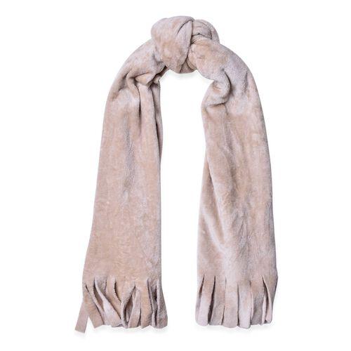 Designer Inspired-Beige Colour Velvet Reversible Wrap with Fringes (Size 180X58 Cm)