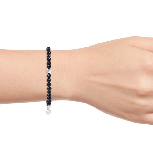 RACHEL GALLEY Black Jade Beads Bracelet (Size 6.5) in Rhodium Overlay Sterling Silver  29.020 Ct.