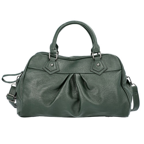 Super Soft  Tote Handbag with Detachable Shoulder Strap and Zipper Closure (Size 39.5x13x23cm) - Dar