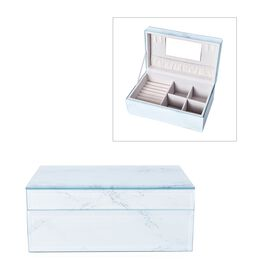 Marble Glass Jewellery Storage Box with Inside Mirror, 7 Ring Rows, 4 Necklace Hook with Pouch and 4