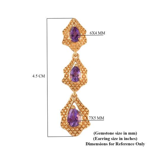 Moroccan Amethyst Dangle Earrings (with Push Back) in 14K Yellow Gold Overlay Sterling Silver 2.79 Ct., Silver 5.96 Gms