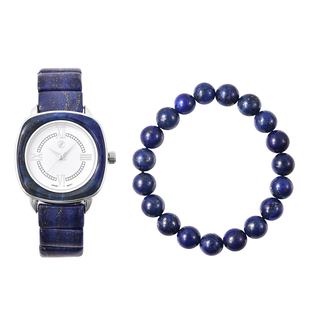 2 Piece Set - GENOA Japanese Movement Lapis Lazuli Water Resistant Watch in Stainless Steel and Stre
