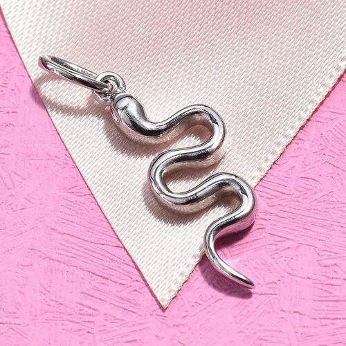 Platinum Overlay Sterling Silver Snake Pendant