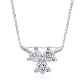 9K White Gold SGL Certified Diamond (Rnd) (G-H/I3) Three Stone Pendant with Chain (Size 18) 0.10 Ct.