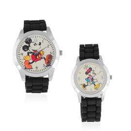 2 Piece Set - Retro Disney Mickey and Minnie Watch Set with Black Colour Strap