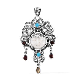 Princess Bali OX Bone Carved Face and Multi Gemstone Dewi Ratih Pendant in Silver 9.50 Grams