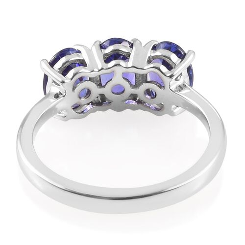 Collectors Edition- RHAPSODY 950 Platinum AAAA Tanzanite Trilogy Ring 2.50 Ct.
