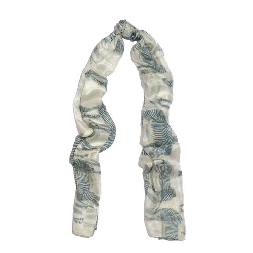 100% Mulberry Silk Dark Aquamarine and White Colour Zebra Pattern Scarf (Size 180x100 Cm)