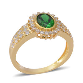 ELANZA Simulated Emerald and Simulated Diamond Ring in Yellow Gold Overlay Sterling Silver