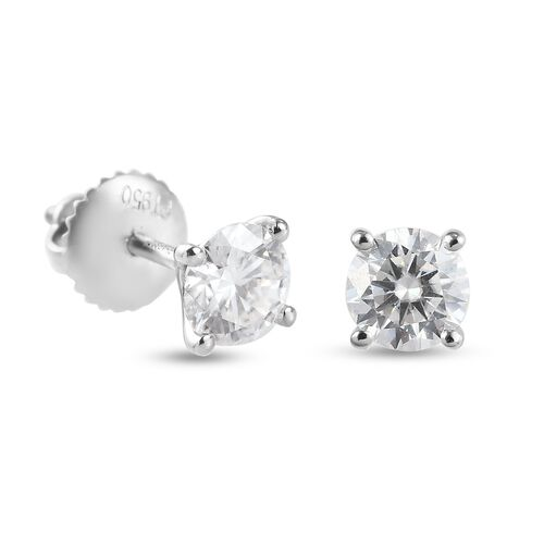 New York Close Out Deal- RHAPSODY 950 Platinum Moissanite Stud Earrings (with Screw Back)