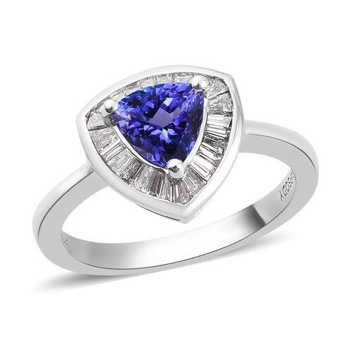 RHAPSODY 950 Platinum AAAA Tanzanite and Diamond  Ring 1.00 Ct.